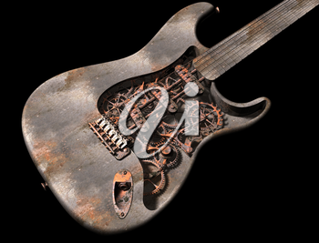 Royalty Free Clipart Image of a Dirty Grungy Steam Punk Guitar