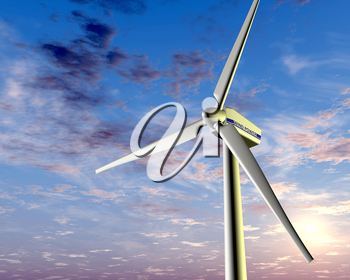 Illustration of a wind turbine with a setting sun in the background