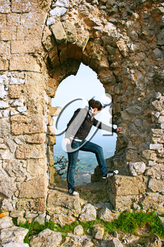 Royalty Free Photo of a Woman Visiting Kantara Castle in Northern Cyprus