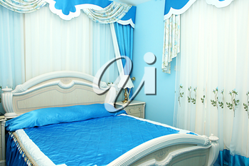 Royalty Free Photo of a Blue Bedroom