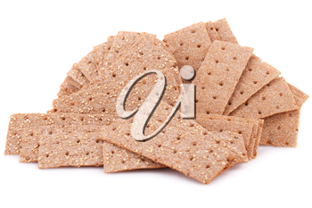 Pile of crackers isolated on white background.