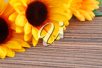 Yellow fabric daisies on striped cloth background.
