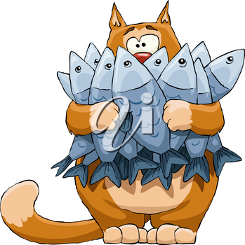 Royalty Free Clipart Image of a Cat with Fish