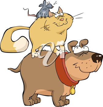 Royalty Free Clipart Image of a Dog Cat and Mouse