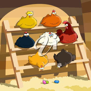 Royalty Free Clipart Image of a Group of Hens