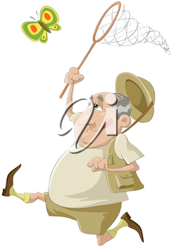 Royalty Free Clipart Image of a Man Catching a Butterfly