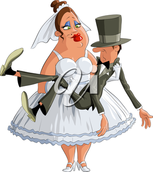 Royalty Free Clipart Image of a Birde and Groom