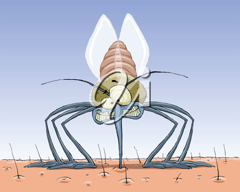 Royalty Free Clipart Image of a Mosquito Sucking Blood