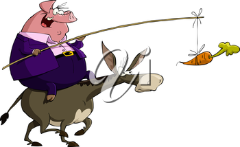 Royalty Free Clipart Image of a Pig Riding a Donkey