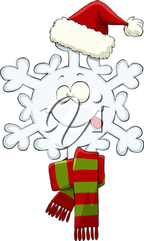 Snowflake on a white background, vector illustration