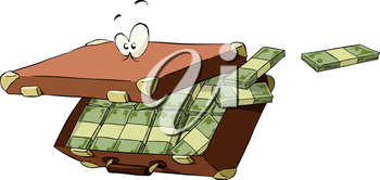 Suitcase of money on a white background, vector illustration