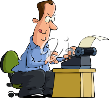 Man typing on a typewriter vector illustration