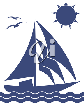 A silhouette of the yacht on white background, vector