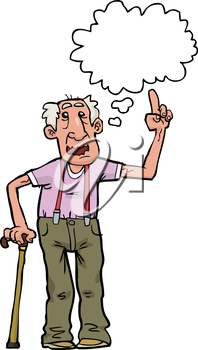 Cartoon grandpa says on a white background vector illustration