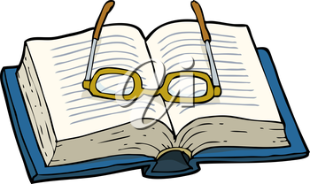 Book with glasses on a white background vector illustration