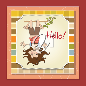 Royalty Free Clipart Image of a Girl Hanging Upside From a Branch