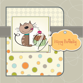 Royalty Free Clipart Image of a Birthday Gift With a Cat