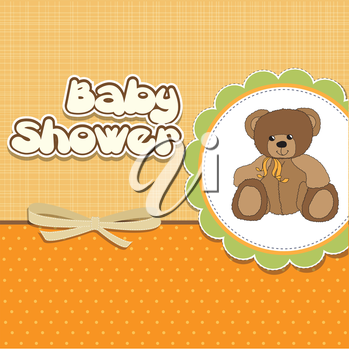 Royalty Free Clipart Image of a Baby Shower Invitation With a Bear