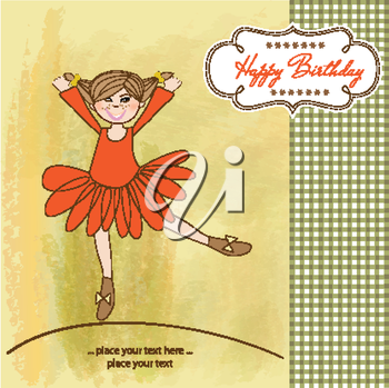 Royalty Free Clipart Image of a Birthday Ballerina Card