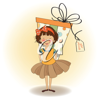 Royalty Free Clipart Image of a Girl Hiding a Gift
