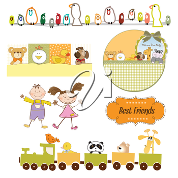 Royalty Free Clipart Image of Babies and Toys