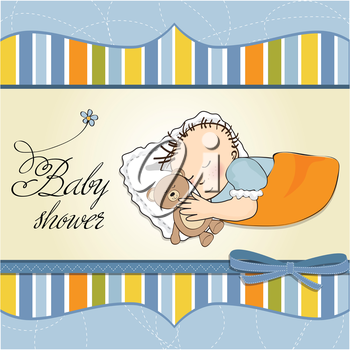 Royalty Free Clipart Image of Baby Shower Card for a Baby Boy
