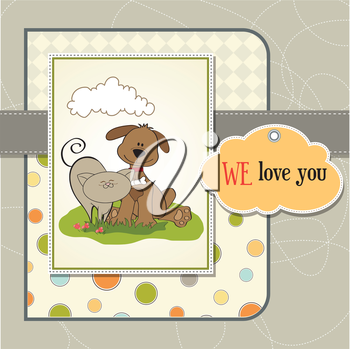Royalty Free Clipart Image of a Cat and Dog Friendship