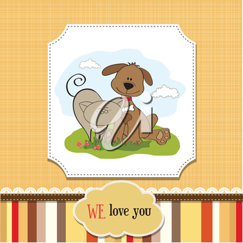 Royalty Free Clipart Image of a Dog and Cat
