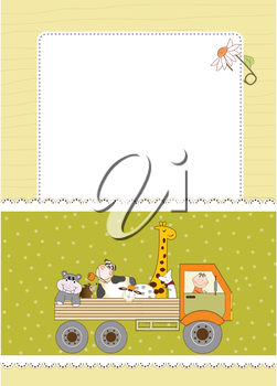 Royalty Free Clipart Image of a Card With a Truck of Animals