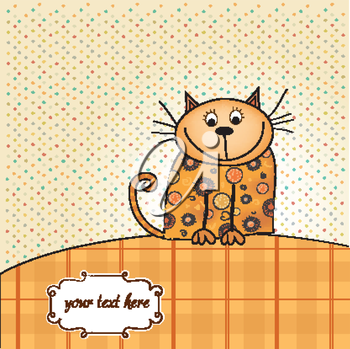 Royalty Free Clipart Image of a Card With a Cat and Space for Text