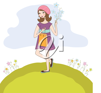 Royalty Free Clipart Image of a Girl on a Hill
