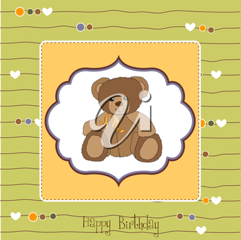 Royalty Free Clipart Image of a Birthday Greeting With a Bear on It