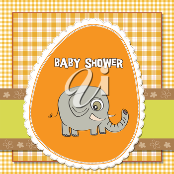 romantic baby announcement card with elephant, vector format
