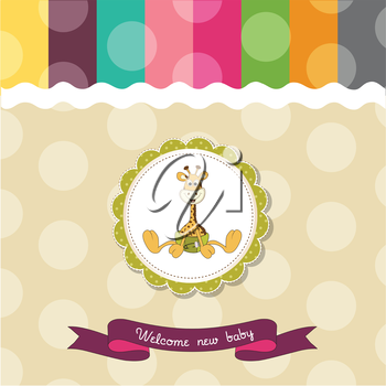 baby shower card with baby giraffe, vector illustration