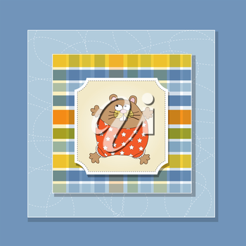 greeting card with cute little rat