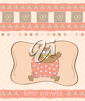 greeting card with cute little rat, vector