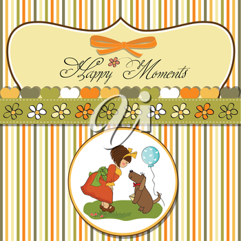 young girl and her dog in a wonderful birthday greeting card