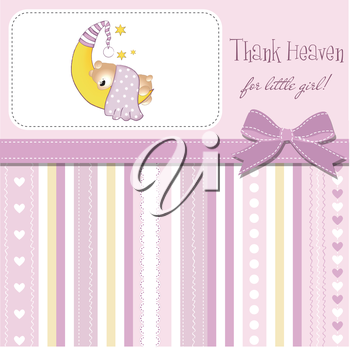 welcome new baby girl, vector illustration