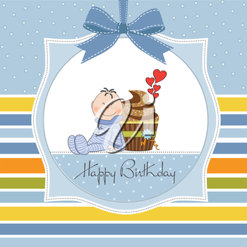 birthday greeting card with cupcake and little baby