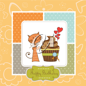 birthday greeting card with cupcake and cat