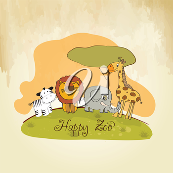 happy zoo, vector illustration