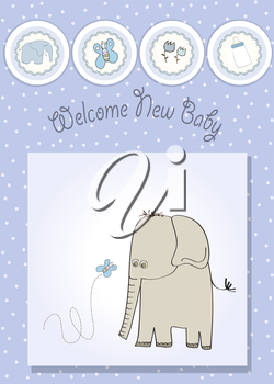 Royalty Free Clipart Image of an Elephant and a Butterfly on a Baby Shower Card