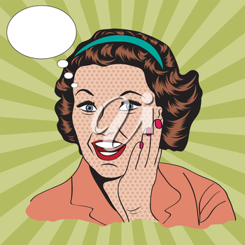 happy woman with message, commercial retro clipart illustration