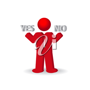 Busines man, person presents yes and no words, vector illustration