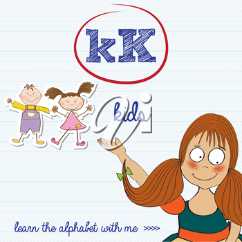 alphabet worksheet of the letter k, vector illustration