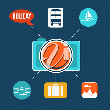 Set of flat design concept icons for holiday and travel, vector illustration