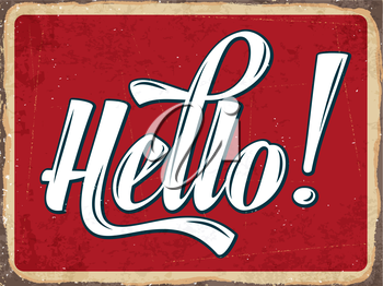 Retro metal sign Hello, eps10 vector format