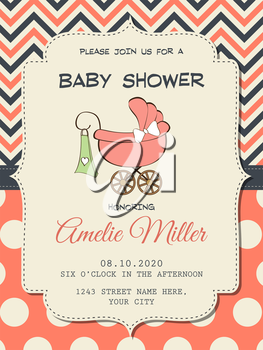 Beautiful baby girl shower card with stroller, vector format