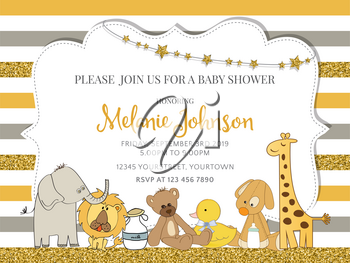 Lovely baby shower card template with golden glittering details, vector format