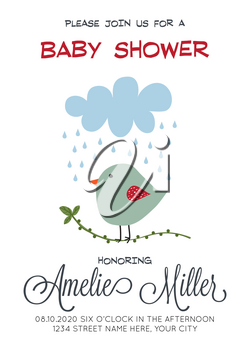 delicate customizable baby shower card template with bird, vector format